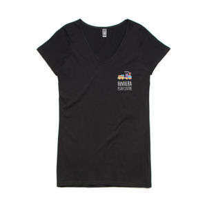 Front Print Dark - Womens Bevel V-Neck Tee Thumbnail